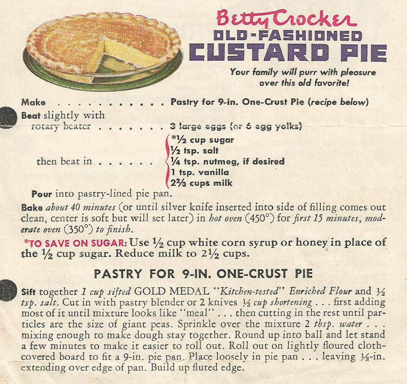Betty Crocker Old Fashioned Custard Pie